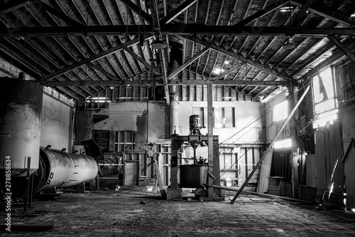 Black and White Rustic Industrial Interior of Abandoned Cannery Warehouse Fototapeta