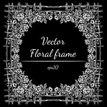 Hand Drawn Floral Frame Outline. Vector Template Design. Hand Drawn Vector Art. Flower Background. Nature Baroque. Line Drawing. Decorative Border