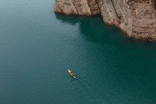 Aerial View Of People Kayaking In Lake