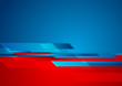 Abstract contrast red and blue tech design with geometric shapes. Minimal futuristic background. Vector modern illustration