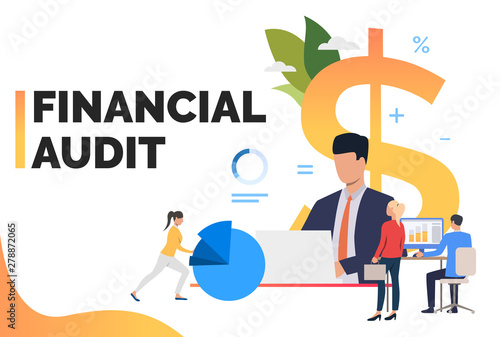 Marketing group analyzing financial reports. Finance, investment, expertise. Financial audit concept. Vector illustration can be used for presentation, posters, landing pages