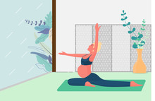 Pregnant Woman Sitting In Yoga Post With Meditating. The Exercise And Relax At Home. Modern Trend And Lifestyle Of Workout And Healthy Care Concept. Vector Illustration In Flat Style.