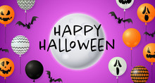 Happy Halloween Lettering With Moon And Pumpkin Balloons. Invitation Or Advertising Design. Typed Text, Calligraphy. For Leaflets, Brochures, Invitations, Posters Or Banners.