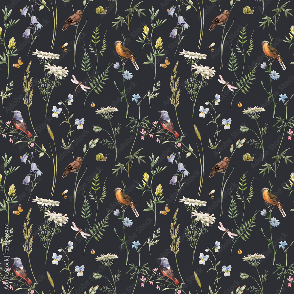 Fototapety, obrazy: Watercolor floral pattern