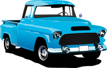 Old Blue Pickup With Badges Re...