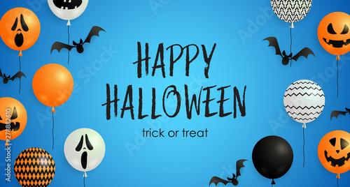 Valokuva  Happy Halloween, Trick or Treat lettering, pumpkin balloons