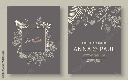 Fototapeta Minimalist Wedding Invitation Set Wedding Flowers Card Set Botanical Cards Design Vector Eps 10