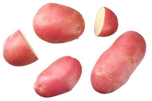 Raw Red Potato With Slices Isolated On White Background. Top View