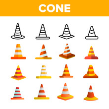 Traffic Orange Cones Vector Color Icons Set. Road Safety Plastic Cones Linear Symbols Pack. Under Construction Caution, Roadworks Warning Sign. Highway Pylon Isolated Flat Illustrations