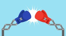 Blue Toy Boxing Gloves Arm With USA Flag And Red Toy Boxing Gloves Arm With China Flag Vector Illustration