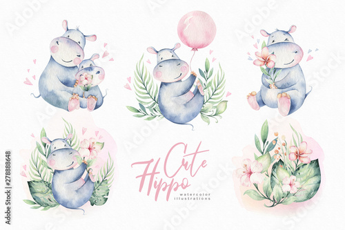 Valokuva Hand drawn cute isolated tropical summer watercolor hippo animals
