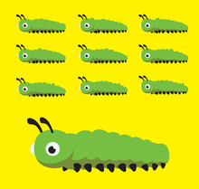 Caterpillar Cute Animation Walking Crawling Cartoon Vector Illustration