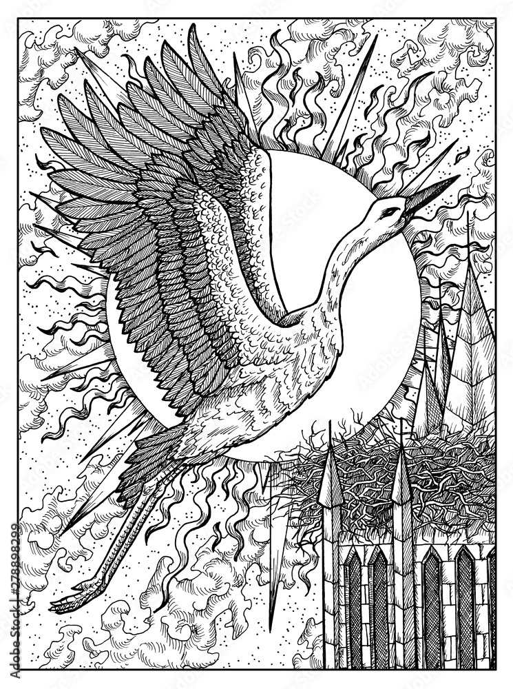 Fototapeta Stork. Black and white mystic concept for Lenormand oracle tarot card.