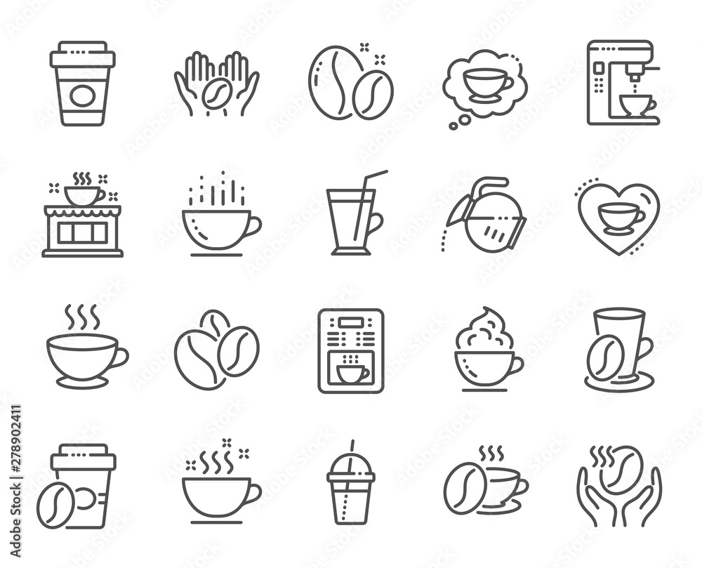Fototapeta Coffee line icons. Beans, hot cocktail and coffee maker machine. Espresso cup, cappuccino with whipped cream line icons. Latte vending machine, breakfast drink and roasted beans. Vector