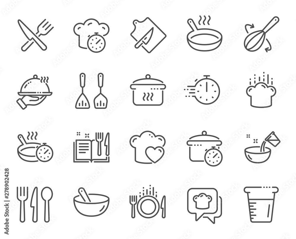 Fototapety, obrazy: Cooking line icons. Boiling time, Frying pan and Kitchen utensils. Fork, spoon and knife line icons. Recipe book, chef hat and cutting board. Cooking book, frying time, hot pan. Vector
