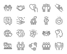 Friendship And Love Line Icons. Interaction, Mutual Understanding And Assistance Business. Trust Handshake, Social Responsibility, Mutual Love Icons. Trust Friends, Partnership. Vector