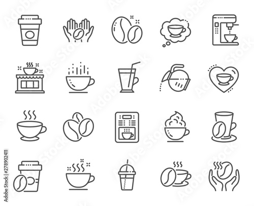 Coffee line icons Fototapet