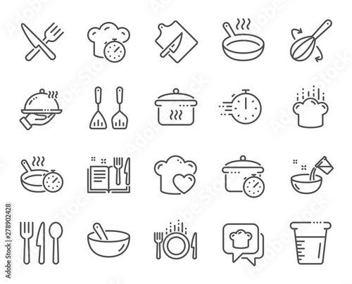 Fototapeta Cooking line icons. Boiling time, Frying pan and Kitchen utensils. Fork, spoon and knife line icons. Recipe book, chef hat and cutting board. Cooking book, frying time, hot pan. Vector obraz