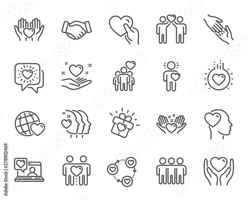 Friendship and love line icons. Interaction, Mutual understanding and assistance business. Trust handshake, social responsibility, mutual love icons. Trust friends, partnership. Vector Wall mural