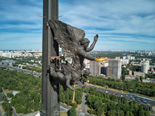 Moscow, Russia - July 05, 2019: Victory Monument On Poklonnaya Hill In Moscow. Closeup View Of Monument From Drone