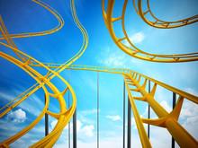 Curvy Roller Coaster Rails In ...