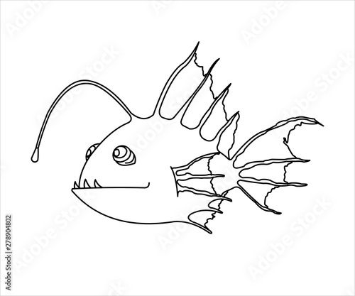 Photo Outline A Terrible and Funny Fish With a Flashlight
