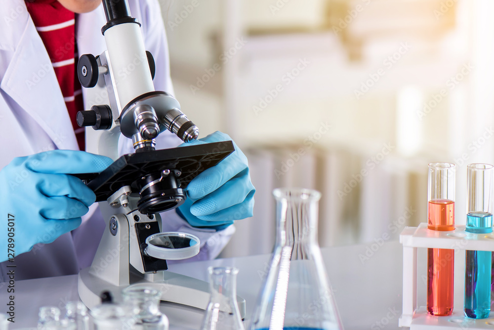 Fototapety, obrazy: Scientist using microscope in laboratory with lab glassware containing chemical liquid, science or medical research and development concept