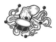 Octopus Playing Drum Sketch En...