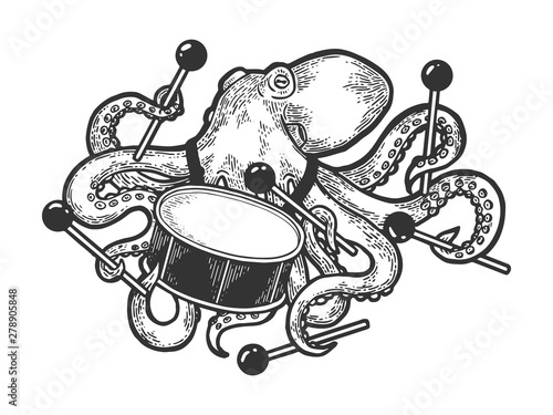 Octopus playing drum sketch engraving vector illustration Tableau sur Toile