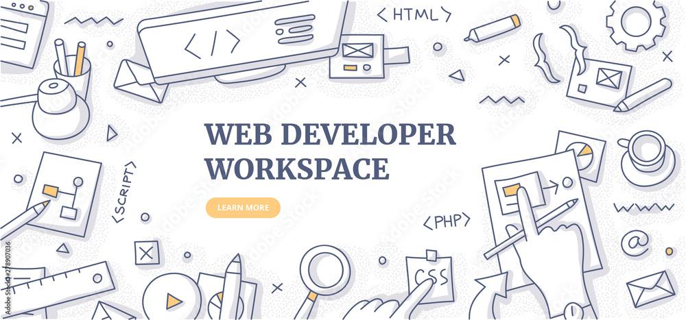 Fototapety, obrazy: Web Developer Workspace Doodle Background Concept