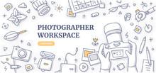 Photographer Workspace Doodle Background Concept
