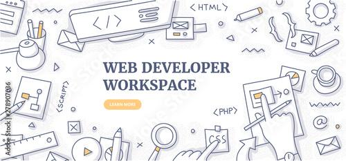 Web Developer Workspace Doodle Background Concept Canvas Print