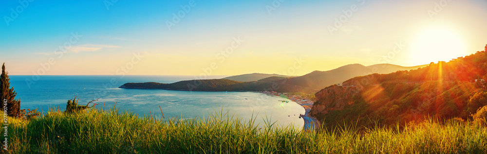 Fototapety, obrazy: Panoramic view from above to the Adriatic sea coastline with Jaz beach at sunset time, Montenegro