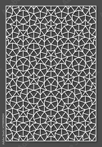 Fototapeta Laser cutting panel. A Penrose tiling. Vector geometric template. obraz na płótnie