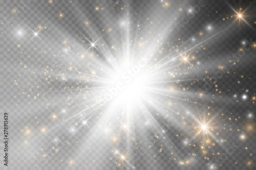 Fototapeta Light glow effect stars. Vector sparkles on transparent background. Christmas abstract pattern. Sparkling magic dust particles. obraz na płótnie