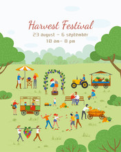 Harvest Festival Vector, People Celebrating And Having Fun. Friends Throw Tomatoes. Grapes, Market With Vegetables And Fruits, Tractor And Farmers Farming. Festival Near Or Of The Harvest Moon