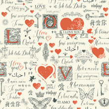 Vector Seamless Pattern With Hearts, Butterflies, Cupids, Initial Letters, Keys, Keyholes And Love Theme Letterings. Abstract Background With Hand Written Declarations Of Love In Different Languages.