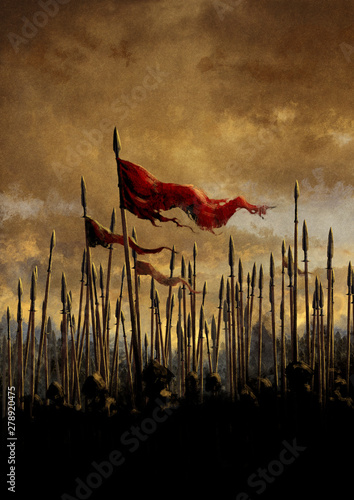 Battle ready army with flags and spears on the sunset Wallpaper Mural