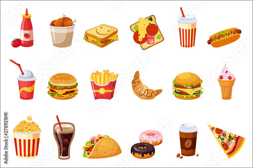 Fototapeta Fast Food Items Set Of Realistic Design Vector Stickers Isolated On White Background