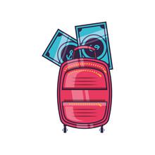Travel Suitcase Equipment With Bills Dollars