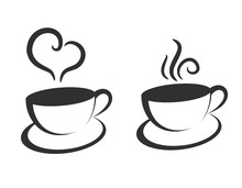 Cup Of Coffee Or Tea With Swirl Steam Lines Vector