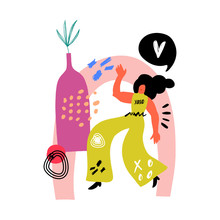 Woman Dancing At Home. Vector ...
