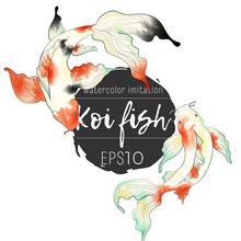 Japanese Koi Fish Hand Draw Watercolor Imitation Illustration Collection. Clip Art Of Colorful Carps In Asian Style.