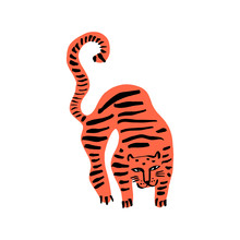 Funny Wild Cat Tiger. Cute Kids Print For T-shirt. Vector Illustration