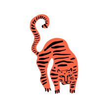 Funny Wild Cat Tiger. Cute Kid...