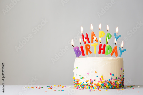 Birthday cake with colorful candles - 278929017