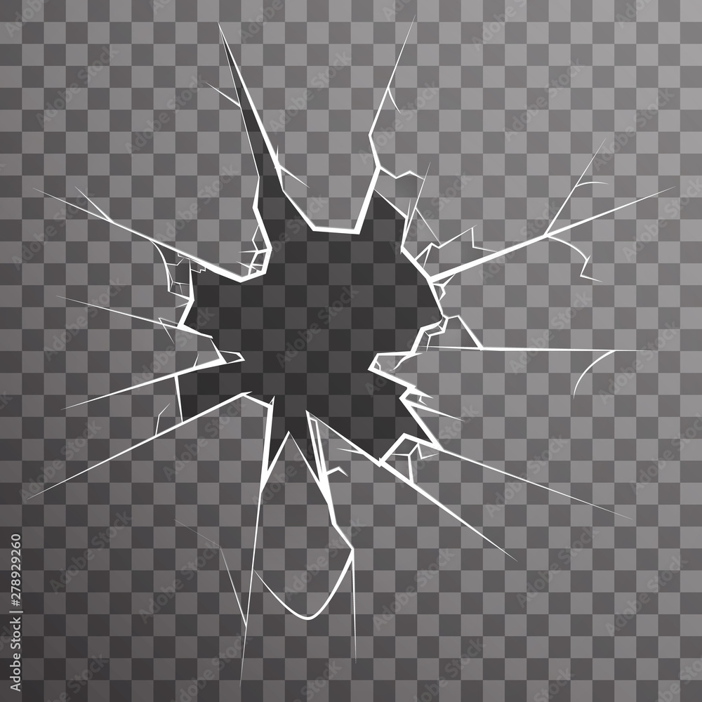 Fototapety, obrazy: Broken window glass wreck hole cracked demolition transparent texture background vector illustration