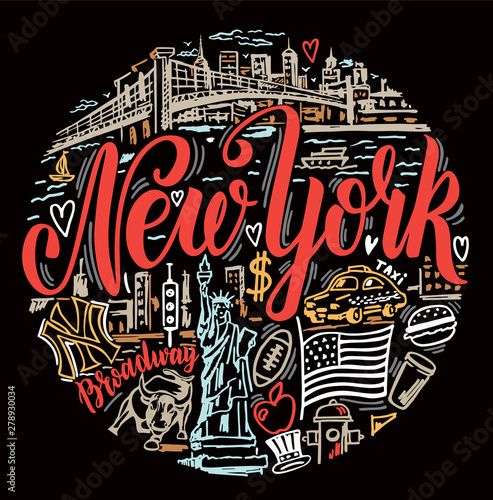 Wall Murals New York TAXI Vector set of New York city. New York landmarks and american traditions symbols vector illustration. For travel card, poster, print design, t-shirt design. Handdrawn conceptual illustration.