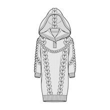 Sweater Hoodie Fashion Flat Sketche Template
