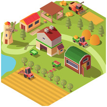 Isometric Farm Or Modern Ranch...